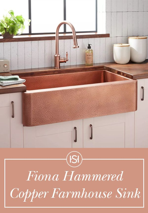 The Fiona Hammered Copper Farmhouse Sink From Signature Hardware