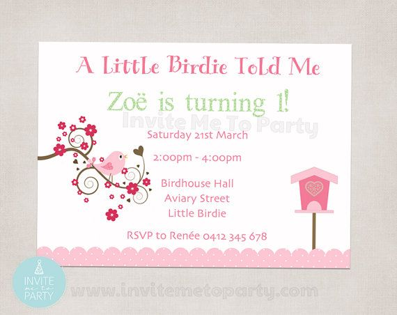Little Birdie Invitation by InviteMe2Party on Etsy, $12.00