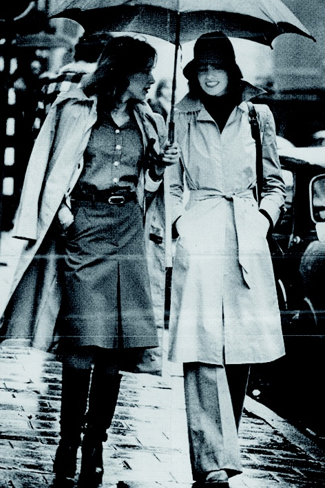 Back to the seventies: models in trenchcoats.