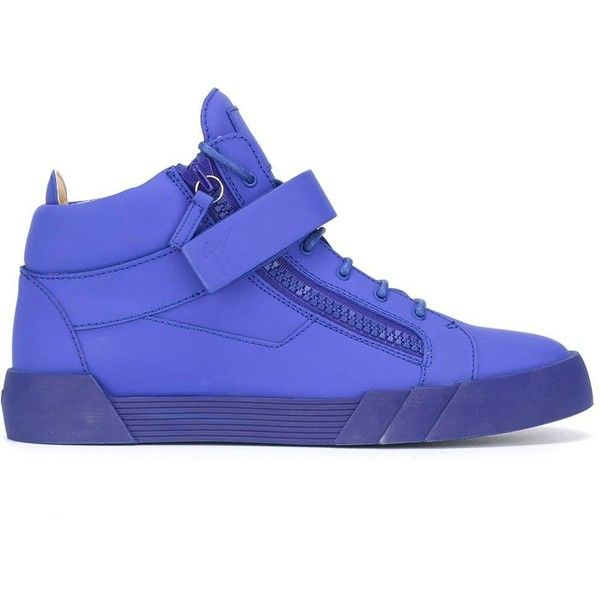 Giuseppe Zanotti Design 'The Shark 3.0' mid-top sneakers ($440) ❤ liked on Polyvore featuring men's fashion, men's shoes, men's sneakers, blue, mens flat shoes, mens leather sneakers, giuseppe zanotti mens sneakers, mens leather shoes and mens lace up shoes