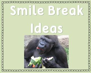 Smile breaks for the classroom.  Great idea for those moments when you want to scream and everyone could really use a big smile! Keep a file of silly pics (I like monkeys myself) and flash one on the smart board for you and the kiddos. You could even have a special pinterest board just for this purpose!