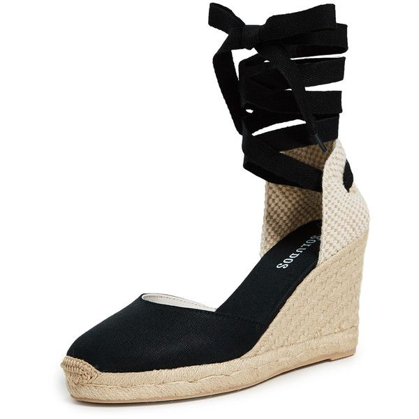 Soludos Tall Wedge Espadrilles ($95) ❤ liked on Polyvore featuring shoes, sandals, black, braided sandals, soludos espadrilles, black wedge sandals, black wedge heel sandals and black caps
