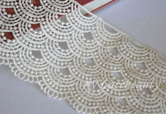 Off White Venice lace Cotton Wave Embroidery Lace by Lacebeauty, $5.99