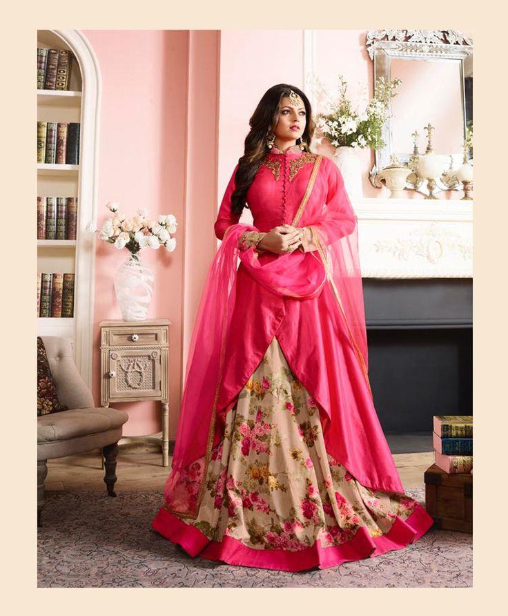 Drashti Dhami Pink Taffeta Designer Suit