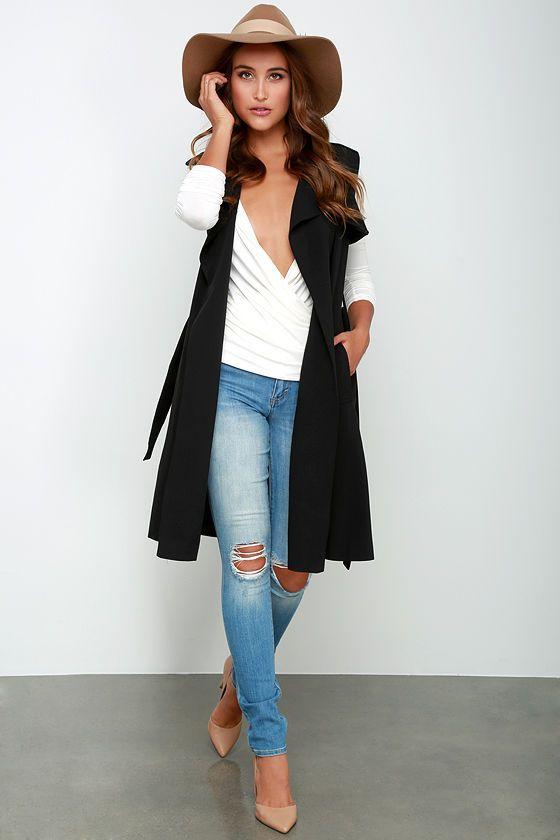 Chic Black Sleeveless Coat - Sleeveless Trench Coat - Black Vest - $74.00