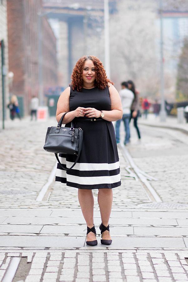 Bold white stripes make this little black dress pop. Go to Dia&Co, and make your style dreams come true! #DiaStyleInspo
