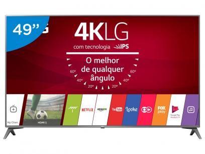 """Smart TV LED 49"""" LG 4K/Ultra HD 49UJ6565 webOS - Conversor Digital 2 USB 4 HDMI com as melhores condições você encontra no Magazine Rosem. Confira!"""