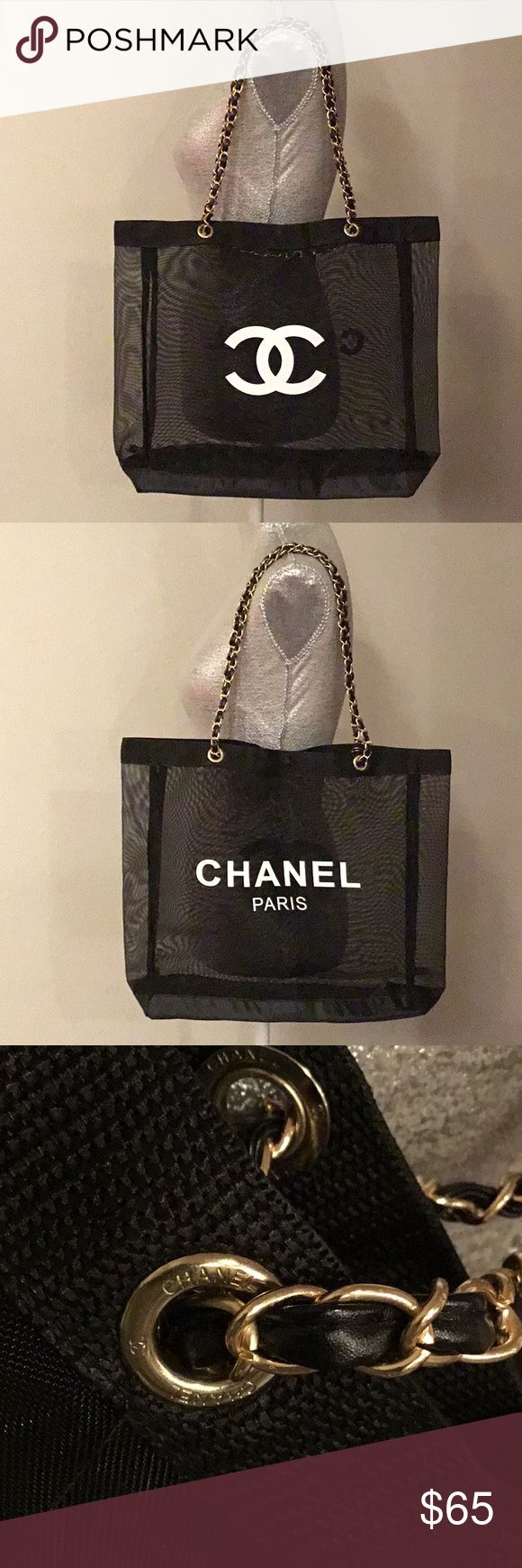 """Authentic Chanel Mesh Gold Chain Tote Bag VIP New CHANEL  Authentic VIP Beauty Gift MESH GOLD Chain Tote Bag.  Color: Black  Silver Chain  Magnetic Closure  """"CC"""" on one side, """"CHANEL PARIS"""" on the other side.  This is a VIP gift item, does not comes with hologram stickers, dust bag, authenticity card or box.  Brand new  It is a gift bag from chanel with a required amount spent. It is not for sale in the store.  It has a size approximately 15"""" x 14"""" x 4"""" and the silver hard wear strap drop is…"""