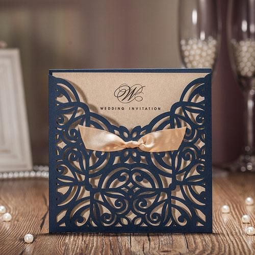 50pcs Blue Laser Cut Wedding Invitations Card Greet Card Personalized Custom With Ribbon Free Envelope & Seals Party Supplies