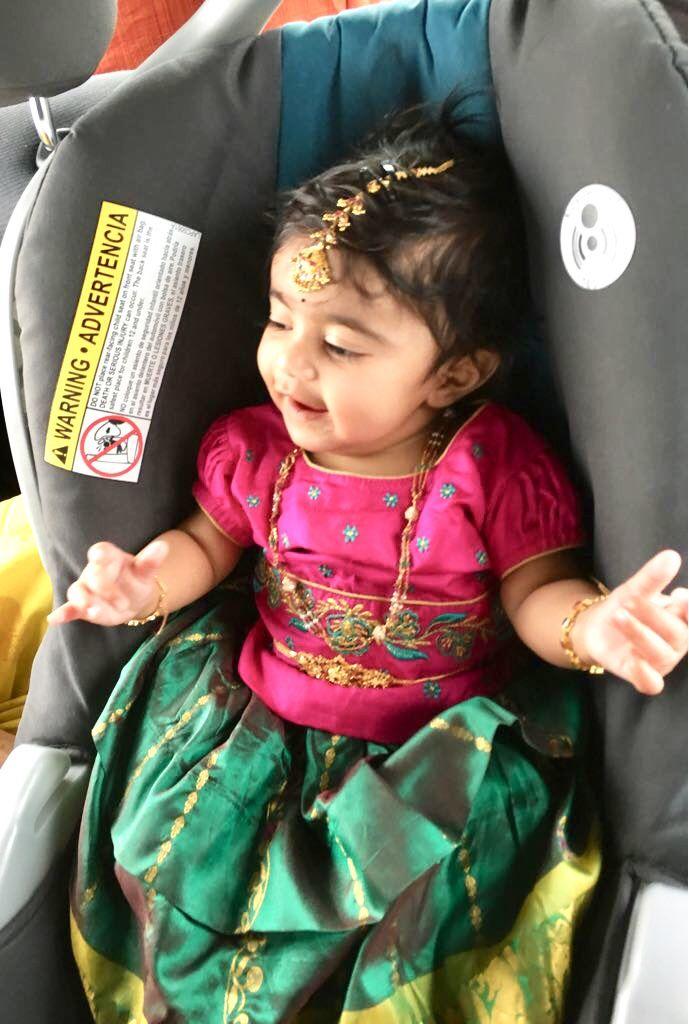 Pink And Green Pattu Langa Pattu Pavadai Kids Fashion Kids Outfits Baby Design