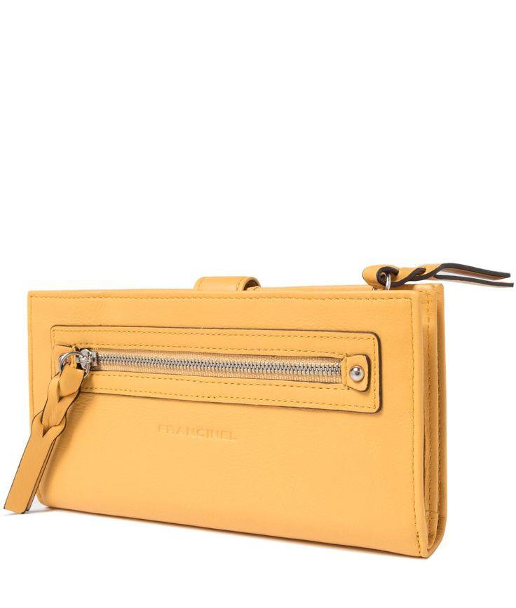 Желтый женский кошелек из натуральной кожи