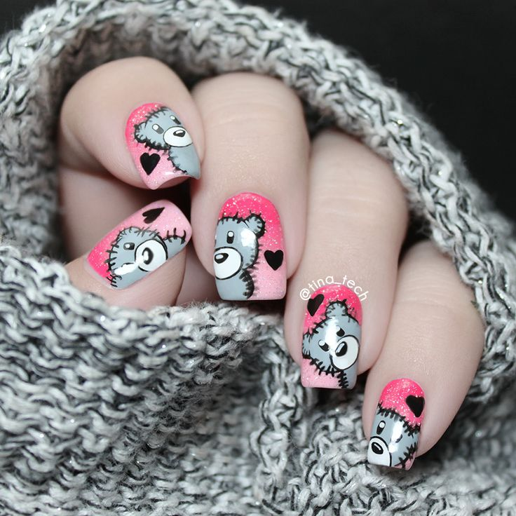 Then and Now – Cute Teddy Bear Nail Art
