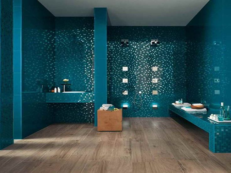 Ordinaire Bathroom Designs, Tiles Bathroom Ideas For Small Bathrooms Wooden Floor  With Blue Wall Amd White Ceiling Cool Design Bathroom: Bathroom Floo.