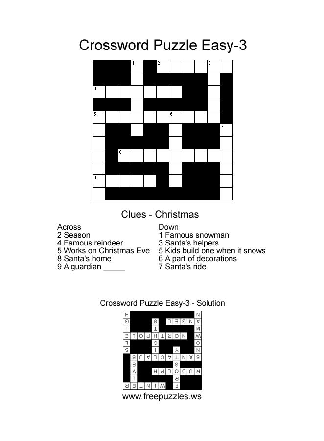 Image result for simple crossword puzzles for seniors