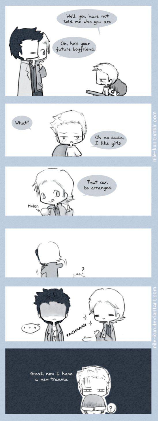 Tumblr post:►Link Part one:►Link ---------------------------Traducción:Dean: Bueno, no me has dicho quien eresGabriel: Él es tu futuro novioDean: ¿Qué? Oh no...