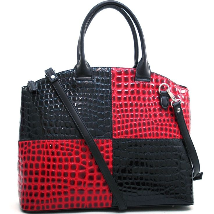 This large block color chic patent croco tote bag from Daseinfeatures an all-over croco texture. This tote bag boasts a roomymain compartment with two interior pockets for easy organizationwithout sac