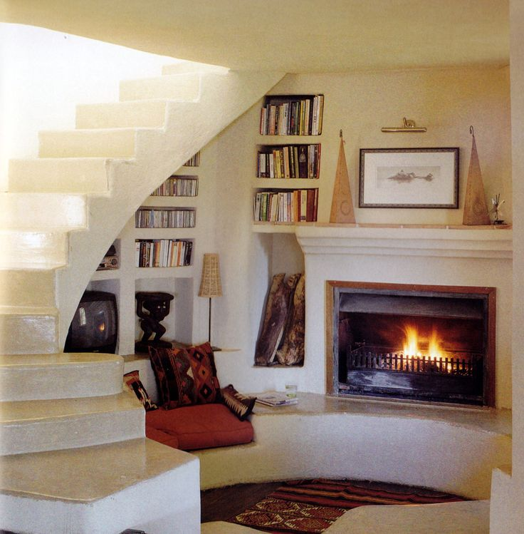 fireplace, bench, shelves, stairs