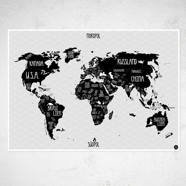 """Digitaldruck - A1 Plakat """"Weltkarte"""" s/w - ein Designerstück von Amy-and-Kurt bei DaWanda"""
