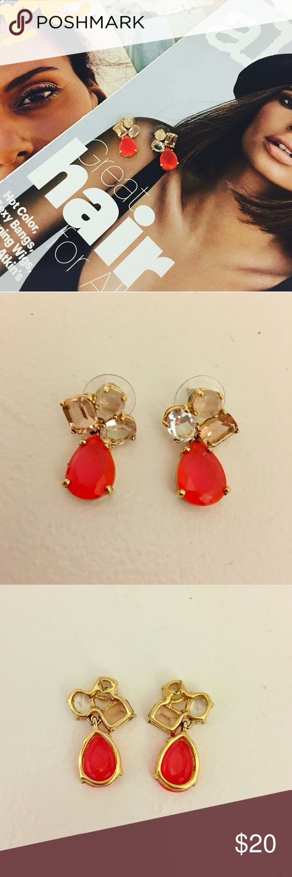KATE SPADE Nude + Neon Crystal Cluster Earrings Stunning, delicate crystal drop earrings by Kate Spade are chic with a touch of neon for some extra sizzle! In good used condition. kate spade Jewelry Earrings