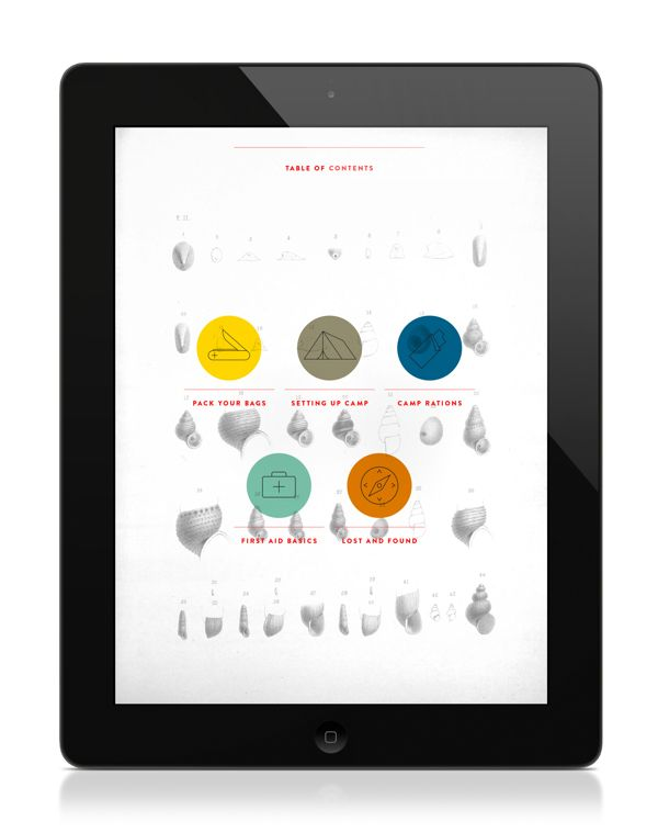 "Donica Ida   |   http://donicaida.com ""A Guide to Camping is an interactive iPad application concept designed to be a part of a larger serie..."