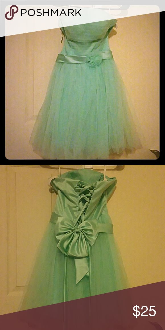 Aqua party dress Tulle party dress. Strapless with adorable ribbon lace back. Dresses Prom