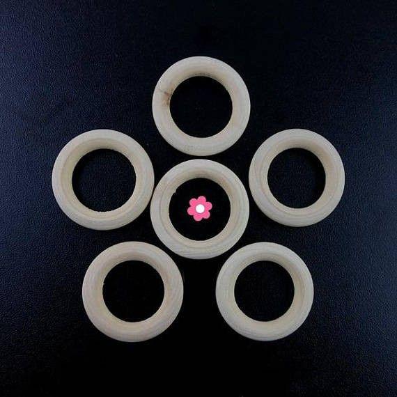 x6 Anneau rondelle bois naturel rond 34mm
