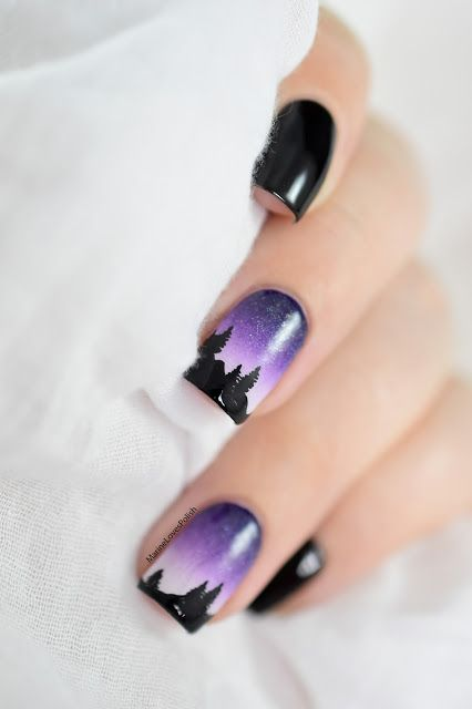 Marine Loves Polish: Nailstorming - A la montagne ! [VIDEO TUTORIAL] - Night landscape mountain nail art - free hand nail art - gradient