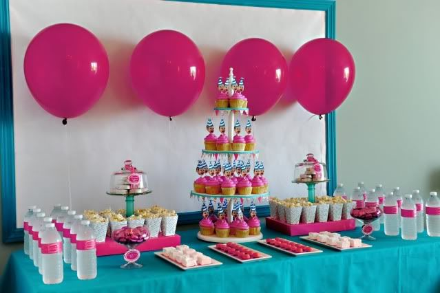 pink aqua: Dessert Tables, Party'S, Birthday Parties, Birthdays, 1St Birthday, Party Ideas, Birthday Ideas, Birthday Party, One Year Old