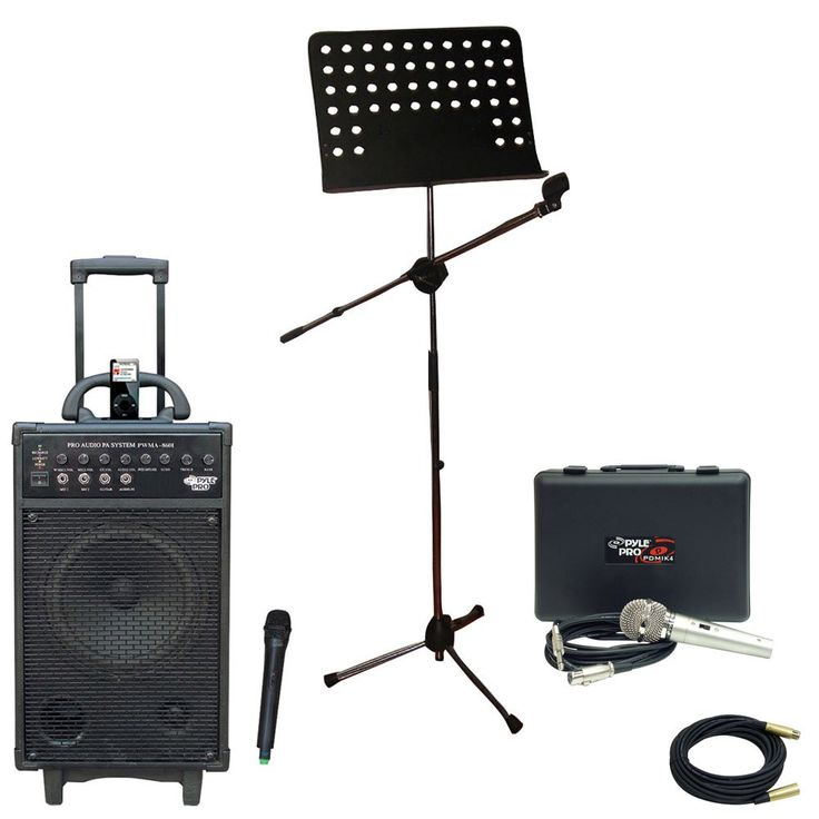 Pyle Speaker, Mic, Stand and Cable Package - PWMA860I 500W VHF Wireless Portable PA System /Echo W/Ipod Dock - PDMIK4 Dynamic Microphone with Carry Case - PMSM9 Heavy Duty Tripod Microphone And Music Note Stand - PPMCL30 30ft. Symmetric Microphone Cable XLR Female to XLR Male