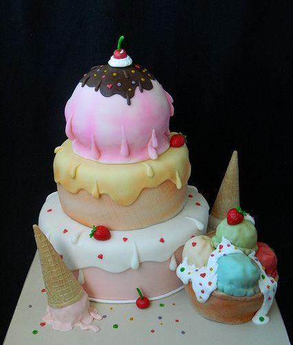 Icecream wedding cake For more insipiration visit us at https://facebook.com/theweddingcompanyni or http://www.theweddingcompany.ie