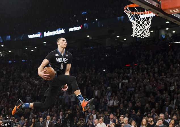 Minnesota Timberwolves' Zach LaVine on his way to victory in the NBA All-Star weekend's Sl...