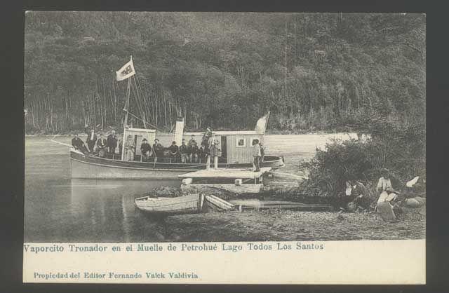 Postal de vaporcito Tronador en el Muelle Petrohue, Lago Todos Los Santos, Chile 1900