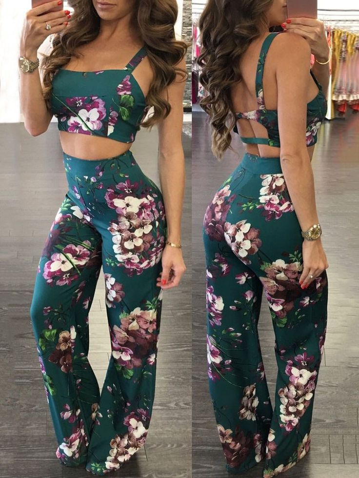 Sexy Hollow Back Floral Cropped Flares Pantsuit Online. Discover hottest trend fashion at chicme.com