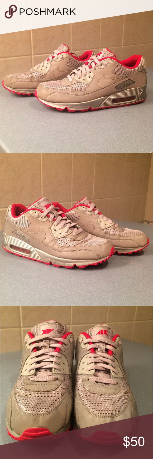 Nike Air Max 90 Air Attack Pack Nike Air Max 90, Air Attack Pack edition. Silver reflective sneaker with red bottoms. They are about 7.5/10. The pictures show the ware. Nike Shoes Sneakers