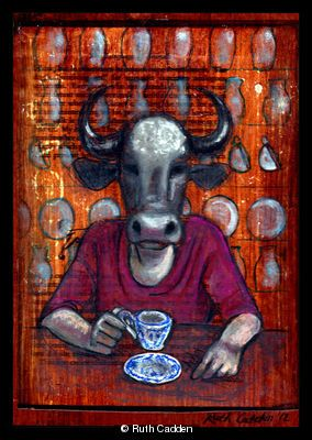 Bull in a China Shop - mixed media