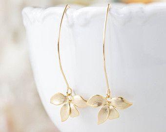 Ciruelo púrpura perla oro orquídea flor cuelgan largos