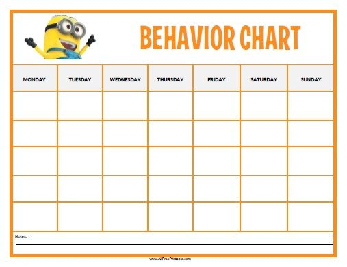 Free Printable Minions Behavior Chart Toddlers and forward - blank reward chart template