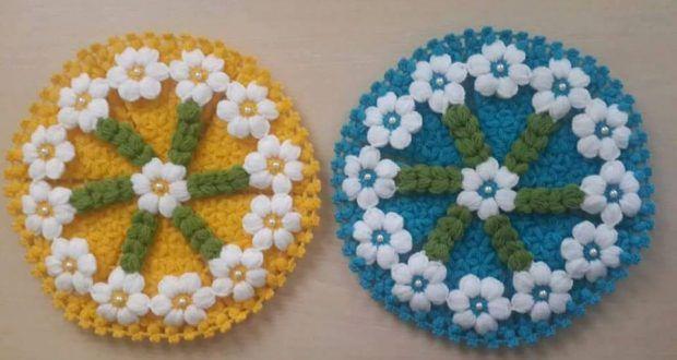 Çiçekli renkli örgü lif modelleri