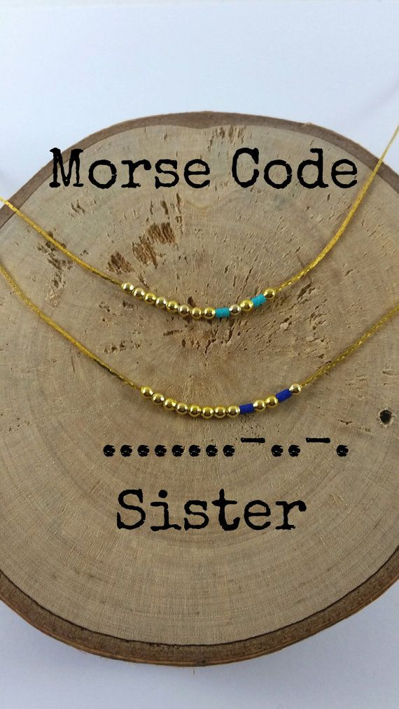 SISTER Morse Code Necklaces Secret Message Dainty by KukanaJewelry