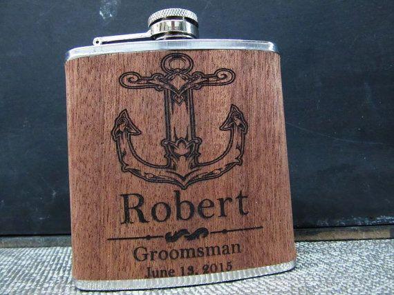 1 Satz Groomsmen Gift Kolben mit Anker-Design von weddingpartygifts