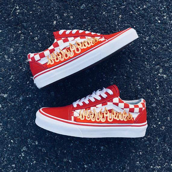 3eb2eaa178cc New arrival! 100% Authentic Vans with Custom Flames All shoes are ...