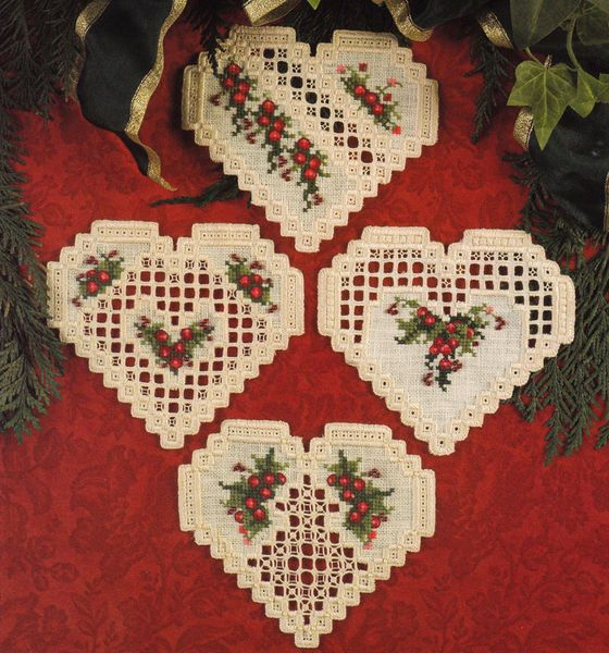 Four lovely Christmas ornaments - hang on your window, Christmas tree or holly…