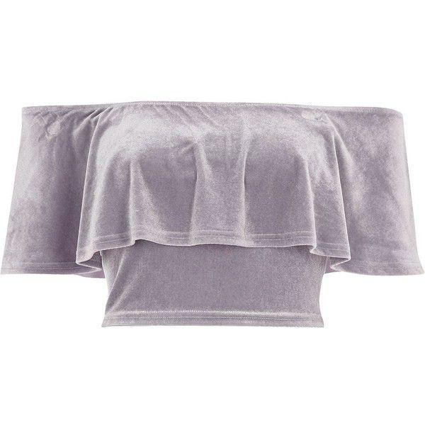 River Island Grey velvet deep frill bardot crop top ($8.53) ❤ liked on Polyvore featuring tops, crop top, shirts, crops, grey, short sleeve tops, flounce tops, velvet crop tops, ruffle top and gray crop top