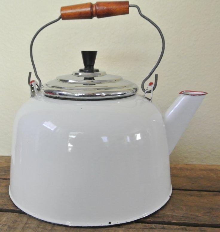 Vintage White Enamel Tea Kettle, White Kettle with Red Trim, Farmhouse Kettle, Rustic White Tea Pot. by DomesticTitanVintage on Etsy