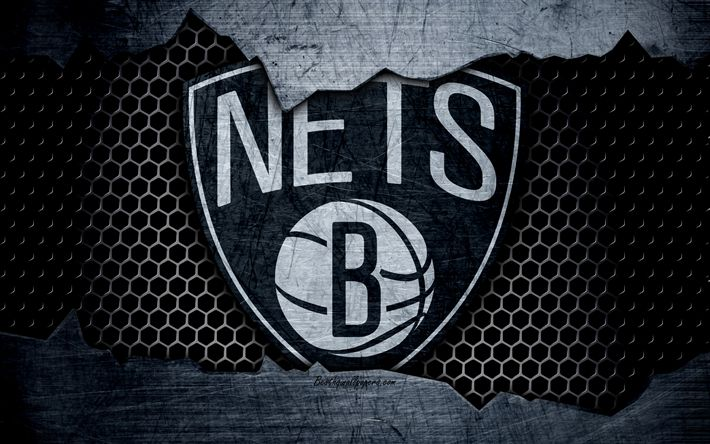 Download wallpapers Brooklyn Nets, 4k, logo, NBA, basketball, Eastern Conference, USA, grunge, metal texture, Atlantic Division