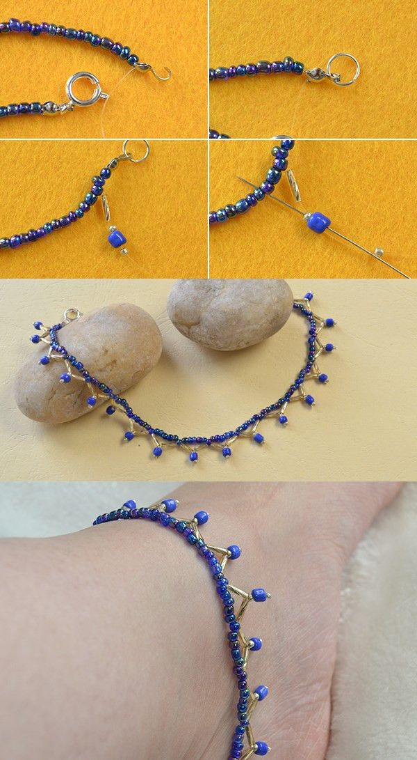 blue beaded anklet, like it? LC.Pandahall.com will publish the tutorial soon.  #pandahall