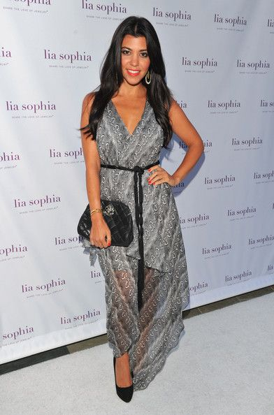 Kourtney Kardashian wearing Robert Rodriguez Python Print Handkerchief Dress Chanel Vinatge Clutch Christian Louboutin Miss Clichy Pumps. Kourtney Kardashian LIA SOPHIA JEWELRY LAUNCH July 26 2011.