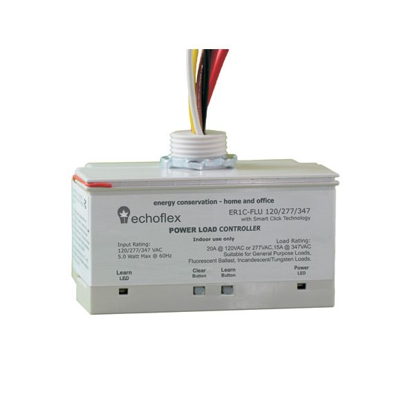 The Echoflex Power Load Controller provides distributed control of any standard lighting fixture or lighting zone using wireless technology. - 120, 277 @ 20A or 347V @ 15A single channel relay control of lighting loads.