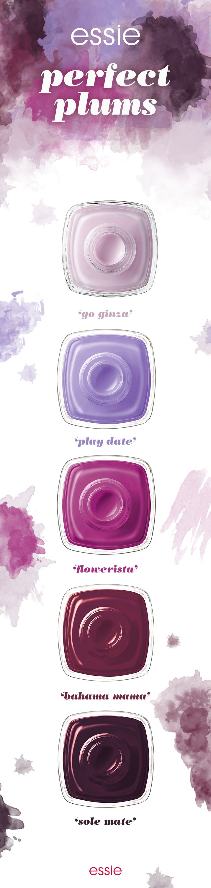 Fall for all the plum polishes this season. Make 'go ginza' your go to, play up purple with 'play date, turn into a 'flowerista', get the style of 'bahama mama' or feel the warmth of 'sole mate'. Any of these essie nail polishes will paint your nails in plum perfection.