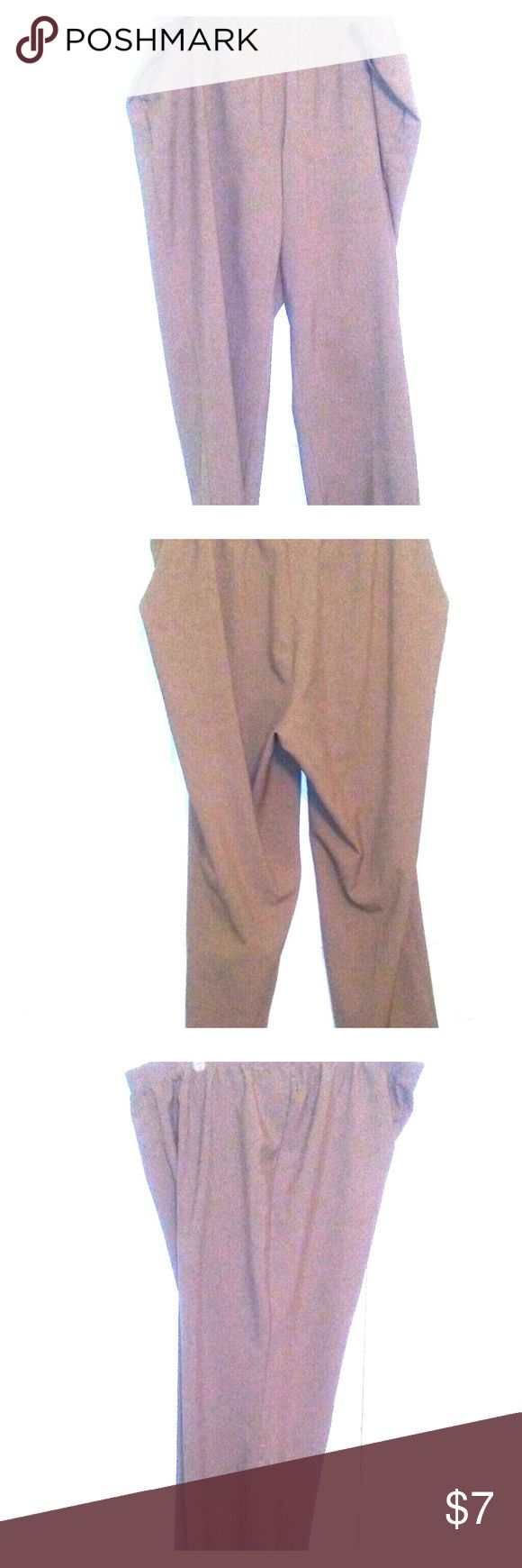 Womens Alia size 24W dark tan work slacks Womens plus size Alia 24W dark tan dress slacks. In great condition. Perfect for wearing to the office. 100% polyester. Machine wash warm gentle cycle. Tumble dry low gentle cycle. Iron low. Made in Jordan. Smoke free home. Alia Pants